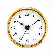 Mouvement quartz à encastrer UTS Tambour Ø 57mm, lunette Ø 65mm jaune, cadran blanc, chiffres arabes