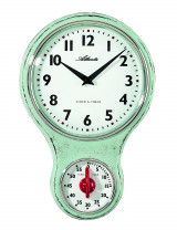 Atlanta 6124/6 Horloge murale de cuisine nostalgie quartz vert avec minuterie