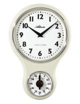 Atlanta 6124/6 Horloge murale de cuisine nostalgie quartz blanc avec minuterie