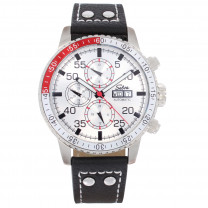 SELVA Herren-Armbanduhr »Carlos« - weißes Zifferblatt - mit Vintage-Lederband