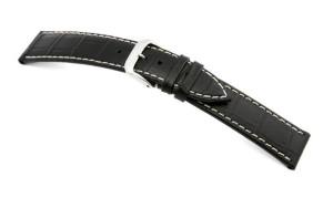 Lederband Saboga 18mm schwarz mit Alligatorprägung