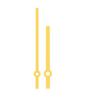 Zeigerpaar Euronorm Balken gelb Minutenzeiger-L:80mm