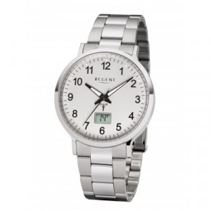 REGENT radio wristwatch, white steel, men