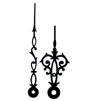 Paire d'aiguilles mécanique antique noir Long.:120mm