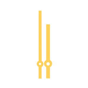 Zeigerpaar Euronorm Balken gelb Minutenzeiger-L:58mm