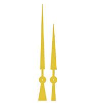 Zeigerpaar Euronorm Lanze gelb Minutenzeiger-L:135mm