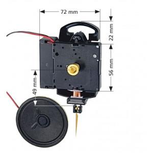 Quartz Mouvement de la pendule Hermle 2214, Longueur d'aiguille 15mm, Westminster/ Bim Bam