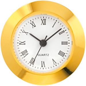 Mini-mouvement quartz à encastrer MC Tambour Ø 24mm, lunette Ø 25,2mm jaune, cadran blanc antique, chiffres romaine