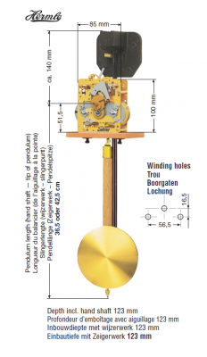Mouvement à ressorts FF, 14-jours, pendule 36,5 cm