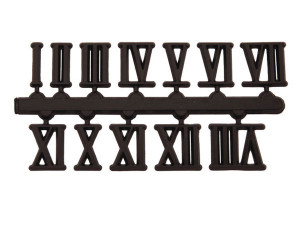 Zahlensatz 1-12 Kunststoff schwarz 15mm römische Zahlen
