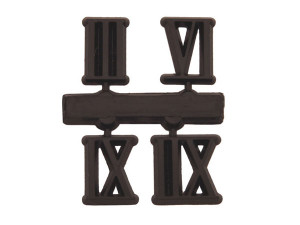 Jeu de chiffres 3-6-9-12 plastique 10mm noir chiffres romains