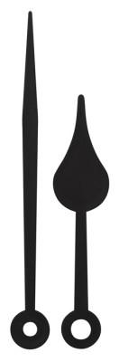 Couple d'aiguilles poire, plastique noire, horloge radio, aiguille des minutes 79mm