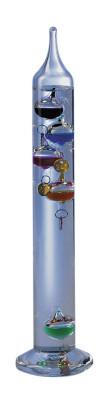 Galilei Thermometer mit 5 Kugeln, Plomben vergoldet
