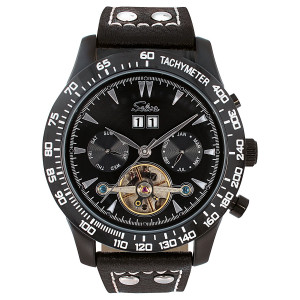 SELVA Herren-Armbanduhr »Hector« - Tachymeter - schwarz
