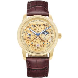 SELVA Herren-Armbanduhr »Ramon« - Sonne/Mond - skelettiert - vergoldet