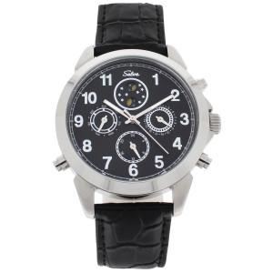 SELVA Herren-Armbanduhr »Santos« - Sonne/Mond - schwarzes Zifferblatt