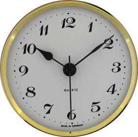 Mouvement quartz à encastrer UTS Tambour Ø 57mm, lunette Ø 72mm jaune, cadran blanc, chiffres arabes