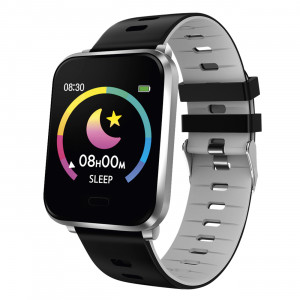 Fitness tracker with gray-black silicone strap
