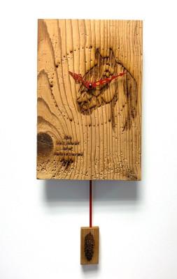 Reclaimed wood pendulum wall clock made in Germany Horse