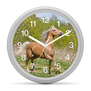 Children's wall clock horse - Horse beige in front of green