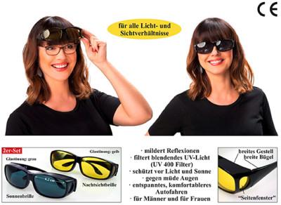 Tag- und Nacht-Überbrille, 2er-Set