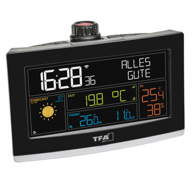 Projection alarm clock with WLAN connection and professional weather forecast