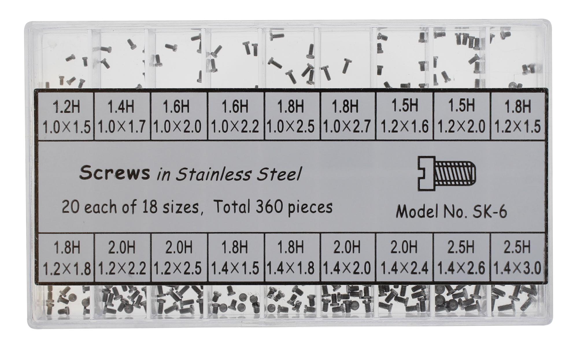 Sortiment Gehäusebodenschrauben Edelstahl, Inhalt 360 Stück