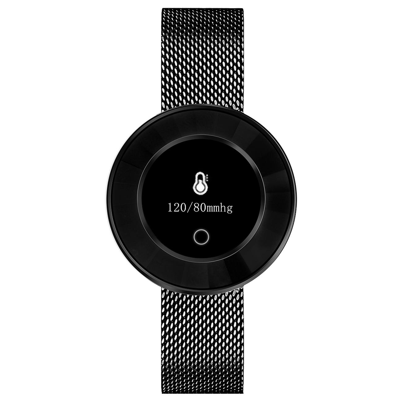 Fitness Tracker, schwarz, Mesh-Armband