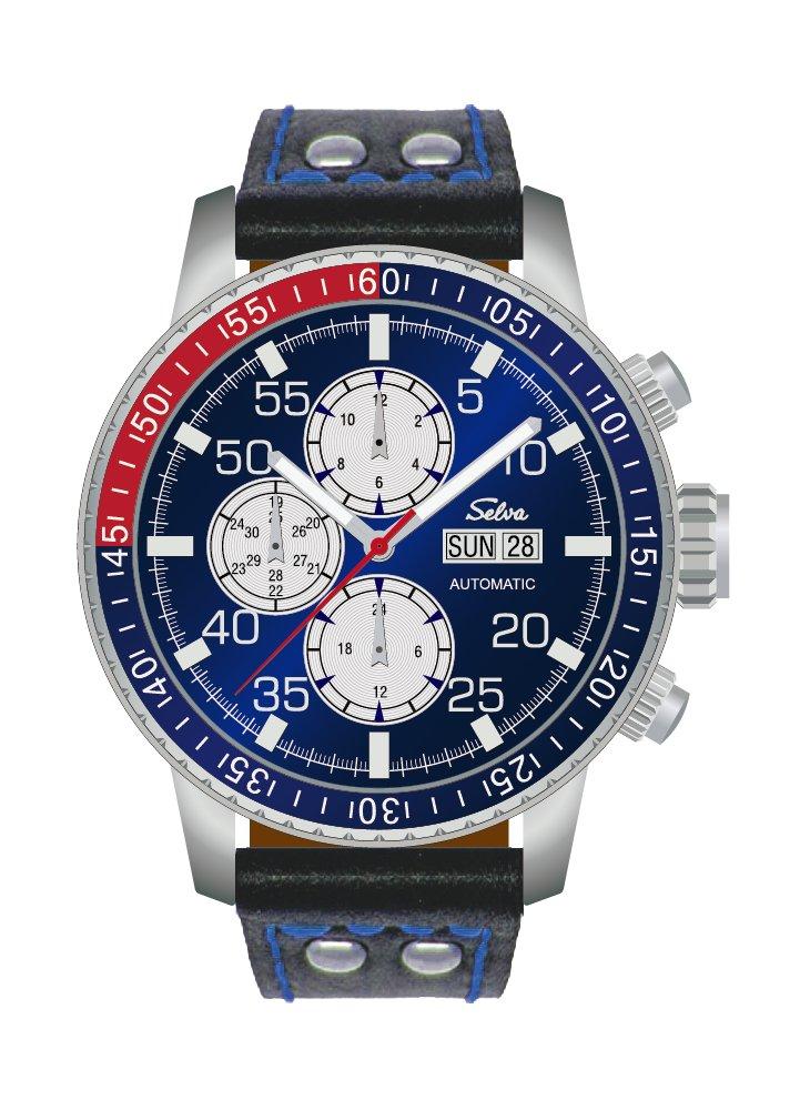 SELVA Herren-Armbanduhr »Carlos« - blaues Zifferblatt - mit Vintage-Lederband