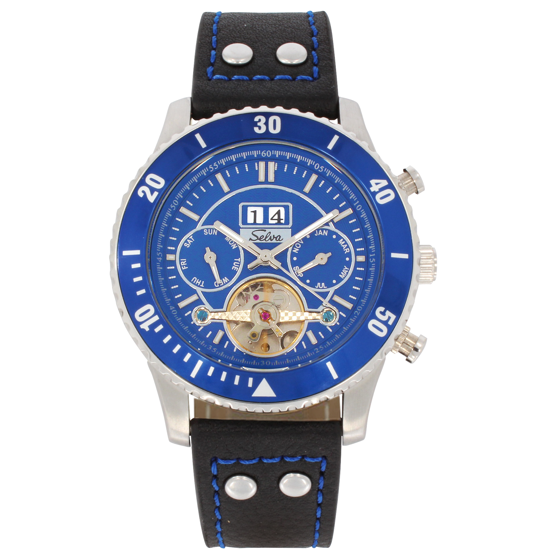 SELVA Herren-Armbanduhr »Vito« - Big Date - blau